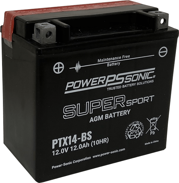 PTX14-BS Power Sonic motorcycle battery AGM
